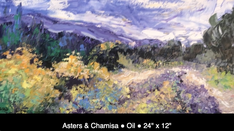 """Asters & Chamisa Oil 24"""" x 12"""" IMG_5291 caption"""