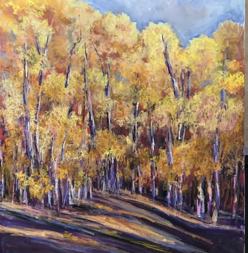 "Glowing Aspens•Oil•60"" x 48"""